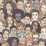Diverse crowd of people - seamless pattern of hand drawn faces, multi ethnic group